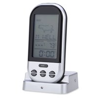 Wholesale Digital Wireless Thermometer Kitchen - arden Supplies Household Thermometers Wireless Food Cooking Thermometer LCD Barbecue Timer Digital Probe Meat Thermometer BBQ Temperature...