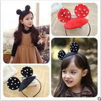 Wholesale Child Hairbands Pearls - Baby Girls hat hair accessories children cute Mickey Mouse ear hair headbands girls pearl hair accessories kids Hairbands T3181