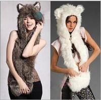 Wholesale Woman Cute Winter Scarfs - 3 colors Women Animal Fur Hat Girl Lady Cute Winter Cap Halloween Christmas Gift 100 pcs YYA599