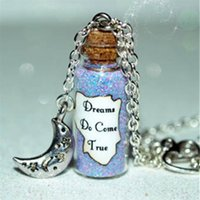 Wholesale dreams necklace resale online - 12pcs Dreams Do Come True glass Bottle Necklace with a Night Moon Charm inspired necklace