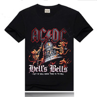 ingrosso vestiti di musica rock-T-shirt donna stampata all'ingrosso ACDC nera T-shirt donna novità Streetwear donna Maglietta Abbigliamento rock femminile AC DC Heavy Metal Rock Music