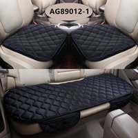 Wholesale Green Seat Cover Set - 3Pcs Set Universal Soft Warm Car Seat Covers Seats Cushion For Front Back Seat Chair Black Brown Car Pad Seat Protector