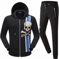 Wholesale 2xl Mens Casual Zip Jackets - 2017 NEW Hot Tide Brand Fit Slim MENS Sport Tracksuit top quality Space Cotton Print Skulls P8546 8545 Casual Hoodie Mens Jackets TrackSuits