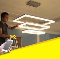 Wholesale Plastic Rectangular - For restaurant foyer bedroom dinning living room Modern PC plastic Acrylic rectangular square LED pendant light LED hanging lamp LLFA