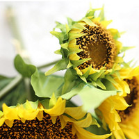 Wholesale Plastic Flowers For Sale - New Bouquet Lifelike Artificial Sunflower Artificial Plastic Sunflower Heads Home Party Decorations Silk Flowers for Sale Free Shipping