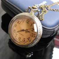Wholesale Pocket Watch Leather - Retro Tawny Court Aristocratic Pocket Watch Necklace With 30 Inches Sweater Chain Quartz Pocket Watch Jewelry Men'S Women Gift