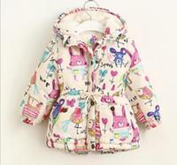 kaşmir hayvan toptan satış-Kış çocuklar kız karikatür hayvanlar boyama baskı hoodies ceket kış kız kaşmir fermuar uzun kollu sıcak ceket giyim çocuk giyim