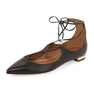 Wholesale square dancing shoes for sale - Zandina Womens Ladies Handmade Fashion Cross Lace Up Pointed Toe Flats Shoes Bullets Party Dance Evening Shoes Blackmatte