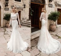 Wholesale Traditional Long Sleeve Wedding Dress - 2017 Traditional Long Sleeves Mermaid Wedding Dresses Sexy Button Back Sheer Crew Neck Lace Appliques New Bridal Gowns with Ribbon