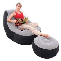 Wholesale Lazy Sofa Chair - Sofa Set Living Room Furniture Inflatable Chair With Ottoman Relax Foot Stool Seat Creative Furniture Flocking Sofa Lazy Boy Sofa