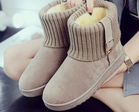 Women Round Toe Botas de tornozelo Woman Warm Fur Inverno Botas de neve New Fashion Buckle Estilo Calçado Low Heel Shoes