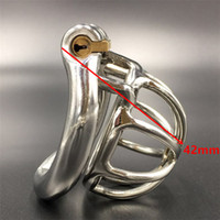 Wholesale Small Metal Chastity Cages - 42mm small cock cage new snap ring design male stainless steel penis cages 4 sizes(36mm-50mm) snap ring metal chastity for men HBS055