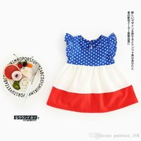 Wholesale Fly Briefs - 2017 INS new arrival summer baby kids dress 100% cotton Blue Patchwork Princess girl dress kid summer sofe comfortable flying sleeve dress