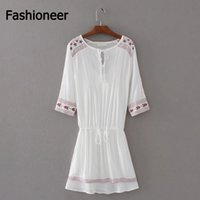 Wholesale Embroidery Cotton Dress For Women - Fashioneer Dress For Woman V Neck Lace Up Slim Embroidery Floral Sashes Cotton Summer Long Sleeve Mini Dresses Womens Lady S-L Size