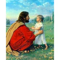 Wholesale Little Girls Wall Decor - Jesus and Little Girl DIY Diamond Painting Embroidery 5D Cross Stitch Crystal Square Home Bedroom Wall Art Decoration Decor Craft Gift