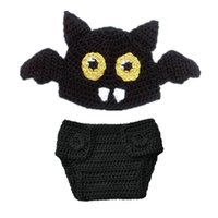 Wholesale Handmade Diapers - Newborn Knit Bat Costume,Handmade Crochet Baby Boy Girl Bat Animal Beanie Hat and Diaper Cover Set,Infant Halloween Costume Photo Props