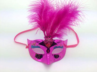 Wholesale red fox mask for sale - Group buy LED light feather dance fox face half masquerade Halloween mask Christmas
