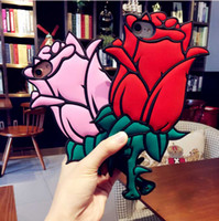 Wholesale Iphone 5s Silicon Casing - Valentine Gift 3D Rose Flower Romantic Coque Soft Silicon Phone Back Cover Case For iPhone 7 Plus 6 6S 6 Plus 5 5S SE Sleeve