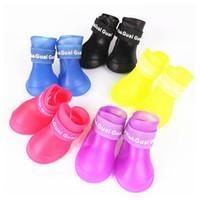 Wholesale Thanksgiving Sock Sales - Hot Sale Fashion Pet Dog PU Rain Shoe Anti Skid Shoe for Small Medium Dog Candy Color 4pcs set