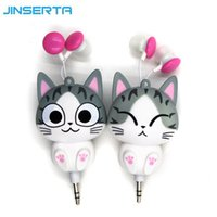 Wholesale headphones cartoons - Wholesale- Cute Earphone Cheese Cat Cartoon Automatic Retractable Headphones Mobile Phone Cartoon Sport Headphone Auriculares MP3 Player