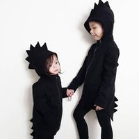 Wholesale dinosaur hoodie coat boys - Baby Ins Coat Kids Dinosaur Hoodies Boys Fashion Jacket Infant Zipper Outwear Animals Outerwear Dinosaur Jumper Baby Kids Clothing