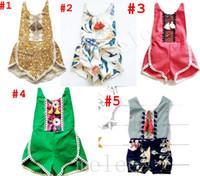 Wholesale Suspender Jumpsuit - INS Baby Tassel Romper Jumpsuits summer toddler kids floral printed suspender romper toddler baby girls cotton lace tassel shorts jumpsuit