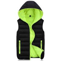 Wholesale Waterproof Mens Vest - Wholesale- Plus Size Mens Vest Waistcoat Winter Jacket Sleeveless Warm Thicken Outwear Coats Autumn Overcoat Waterproof Brand Clothing