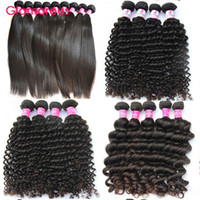 Wholesale Indian Remy Curly Wefts - Glamorous Brazilian Hair Wefts Natural Color 6 Bundles Natural Wave Straight Deep Wave Curly Hair Extensions Peruvian Malaysian Indian Hair