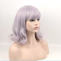 Wholesale Blue Gray Wig - New lolita girls light gray   silver blue mixed color pear rolls BOBO wigs cosplay wig ombre synthetic wigs free shipping
