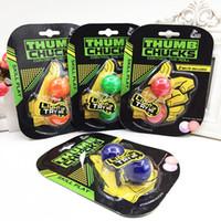 Wholesale Control Stress - 2017 luminous Thumb Chucks Bundle Control Roll Game Yoyo Skill toy Finger Yoyo Anti Stress Toys Glow in Dark DHL Free BEY064