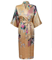 48976f35bd Wholesale- High Fashion Gold New Chinese Women s Silk Rayon Robe Kimono  Bath Gown Nightgown Size S M L XL XXL XXXL Pijama Mujer Zhs01G