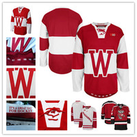 Wholesale Wisconsin Badgers Xxl - Mens NCAA Wisconsin Badgers College Hockey Jerseys adults White Red Stithed Wisconsin Badgers Jersey S-3XL