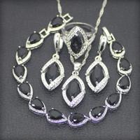 Wholesale Sterling Silver 925 Jade Sets - Black Cubic Zirconia White Rhinestones 925 Sterling Silver Jewelry Sets For Women Earrings Pendant Necklace Rings Bracelets