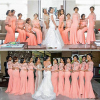 Wholesale Chocolate Chiffon Bridemaid Dress - 2017 South African Coral Bridesmaid Dress with Half Sleeves Long Mermaid Party Dress Beautiful Lace Bridemaid Dresses Plus Size