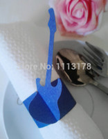 Wholesale Cheap Paper Napkins Wholesale - Wholesale- Cheap paper napkin ring napkin holder wedding guitar napkin holders buckles Wedding Party Decorations