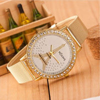 Wholesale Crystals Glass Tower - Gold Tone Paris Eiffel Tower Women's Quartz Watch Girls Ladies Students Casual Wristwatch Shiny Crystal Rhinestones Wrist Watches