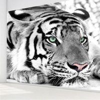 Wholesale photo print paper sizes - Wholesale-Free shipping hot Selling Photo Tiger black and white animal 3d wallpaper murals living room bedroom TV backdrop Custom Size