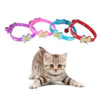 Wholesale Rubber Dog Collars - 1.0*30Cm Dog Collar Rubber Dogs Kitten Soft Adjustable Collars Necktie Multi Colors Bowknot Bells Collars Wholesale