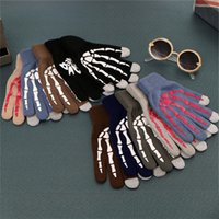 Wholesale Korean Winter Gloves - Korean Autumn and winter men and women knitting gloves personality Touch screen printing glove Warm gloves IA789