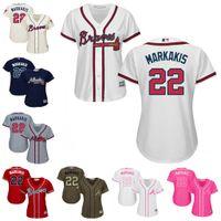 Wholesale Lady Nick - Women's Atlanta Braves Jerseys #22 Nick Markakis Baseball Jerseys Ladies Shirt Cool Base White Pink Navy Red Grey Stitched Size S-2XL
