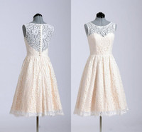 Wholesale Cheap Cocktail Dresses For Weddings - Short Lace Bridesmaid Dresses for Wedding Party Girls 2017 Cheap Boat Neck Knee Length Real Photos Back to School Homecoming Cocktail Gowns