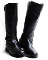 Wholesale Male Thighs - Wholesale- British men thigh-high boots euro concise tall canister punk the parade procession knight male boots soft leather cowboy boots