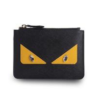 Wholesale Cute Cheap Leather Purses - Custom color Little monster wallet  leather clutch bag cute womens cheap wallets purse cartoon short wallet