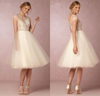 Wholesale Vintage Reception Wedding Dress - Elegant O-neck Short Sleeve Knee Length Wedding Dresses 2017 A-line Tulle Lace Short Reception Gowns robe de mariage Custom Made