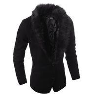 Wholesale Fur Collar Blazer Men - 2016 new Fur collar blazers men suits two-button design Fashion Slim woolen blazer jacket jaqueta thick cotton padded coats US size XS-L