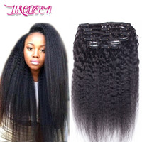 Wholesale Black Kinky Straight - Malaysian Kinky Straight Human Hair Clip In Hair Extensions Natural Black Unprocessed Beauty Weaves From Li&queen