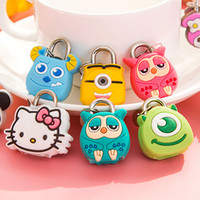 Cartoon lock Cute Cartoon Doll Animal Mini Silicone Metal Padlock Anti-ladrão Segurança Lock com chave para bagagem gaveta Free Shopping DHL