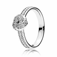 Wholesale East Feature - Authentic 925 Sterling Silver Ring Sparkling Crystal Love Knot Feature Rings For Women compatible with Pandora jewelry HRC0285