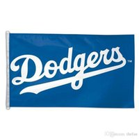 Wholesale Home Fashions - Los Angeles Dodgers Flags Baseball Team Flag Fashion Accessiories Banner Blue Polyester Pongee Falg Office Home Garden Flag Banners