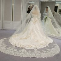 Wholesale Ivory 2t Veil Lace - 2017 Two Layers Bling Sequined Lace at the Bottom Long 3 Meters Wedding Veil with Comb New 2T Cathedral Bridal Veil for Wedding